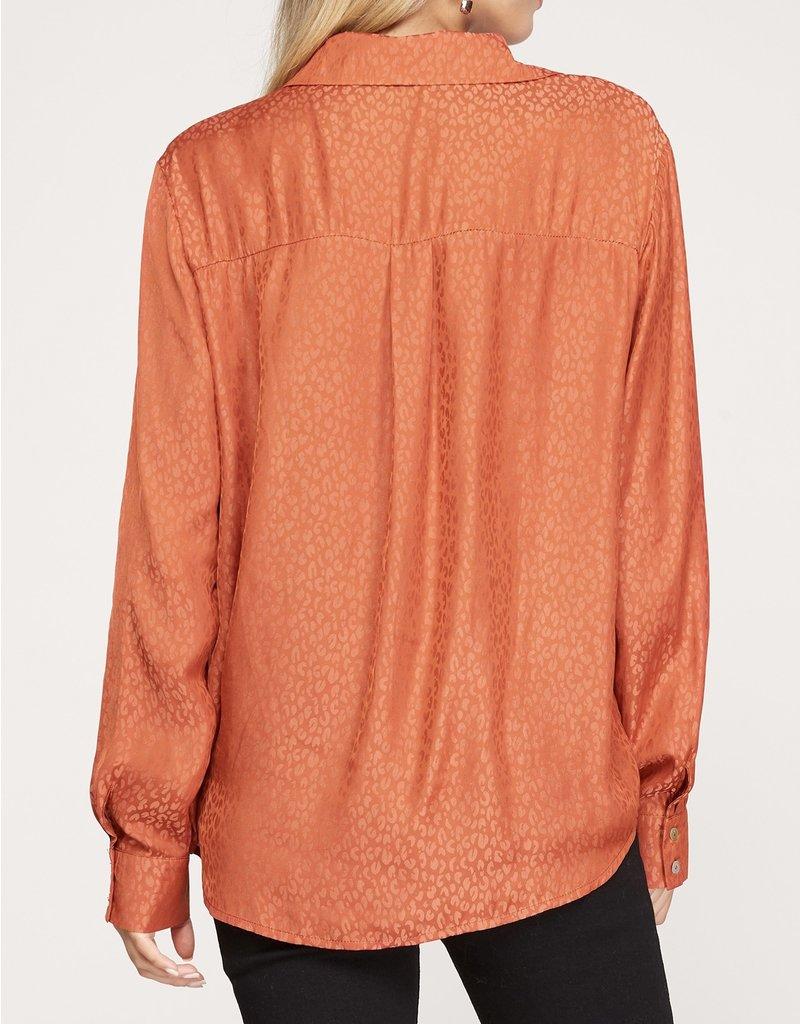 Satin Leopard Button Down Shirt - Rust