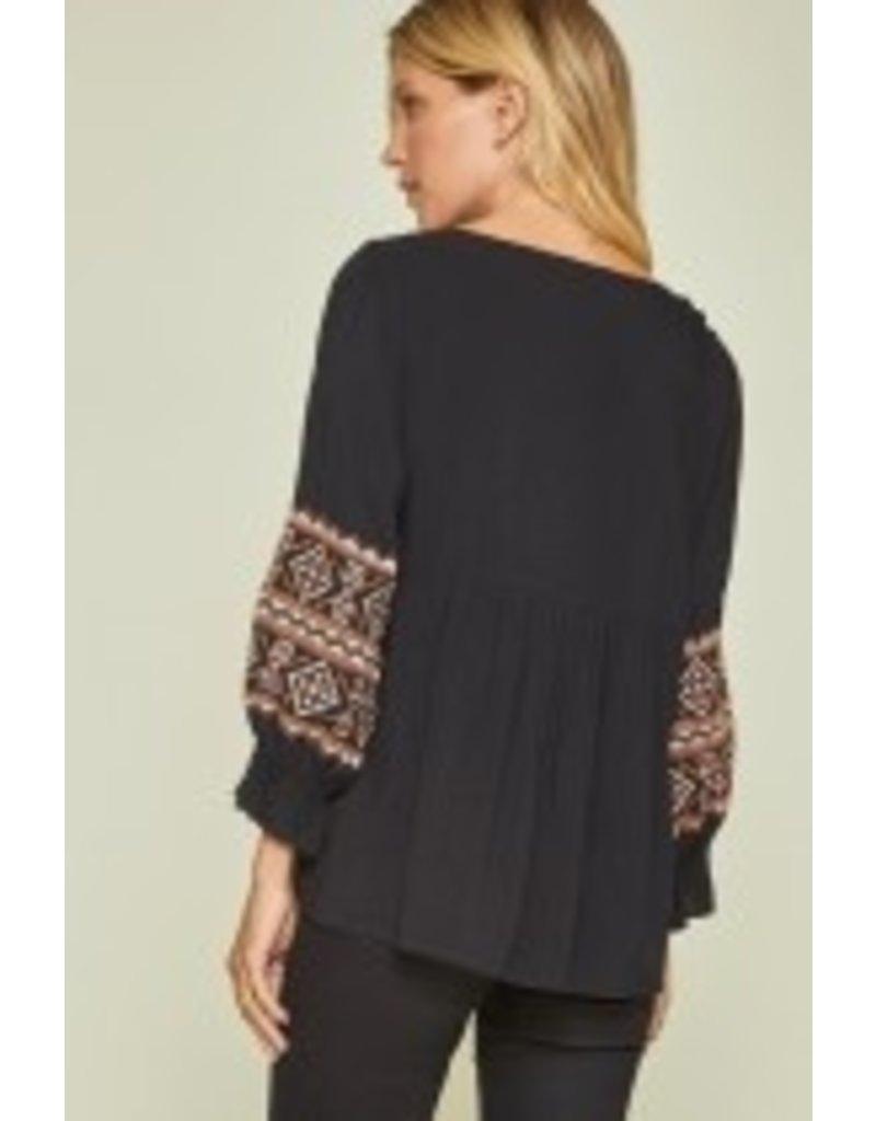 Embroidery Boho Top - Black