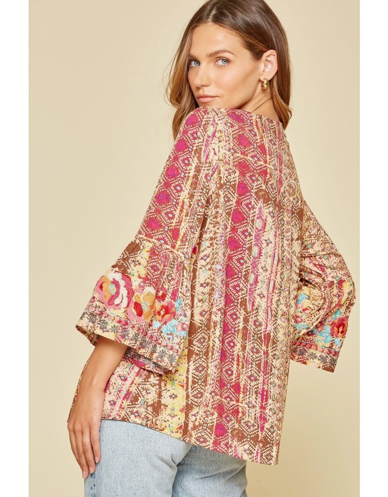 Aztec Embroidery Detaiul Top - Brown