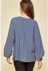 Embroidery Detail Top - Blue