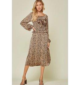 Leopard Satin Midi Skirt