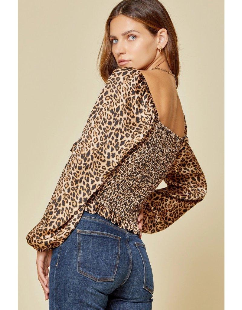 Leopard Tie Detail Top