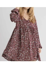 Puff Sleeves Leopard Dress