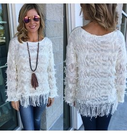 Fringe Detail Sweater - Cream FINAL SALE