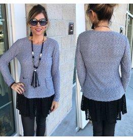 Lace Detail Sweater W/Pockets - Grey