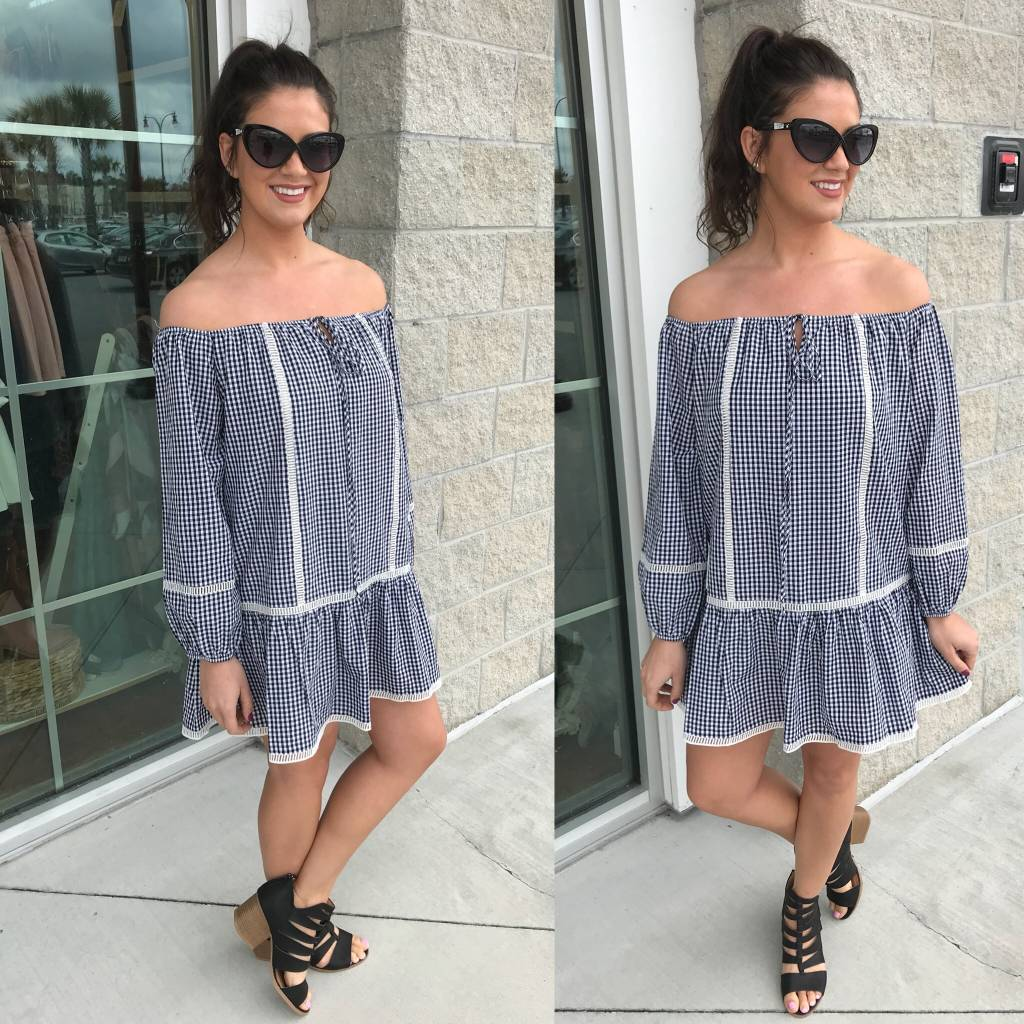 Checker Off Shoulders Dress - Black