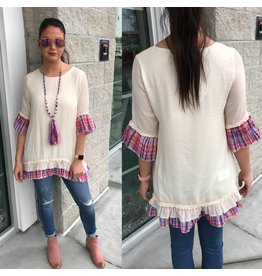 Plaid Accent Tunic - Ivory