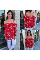 Floral Open Shoulder Top - Red