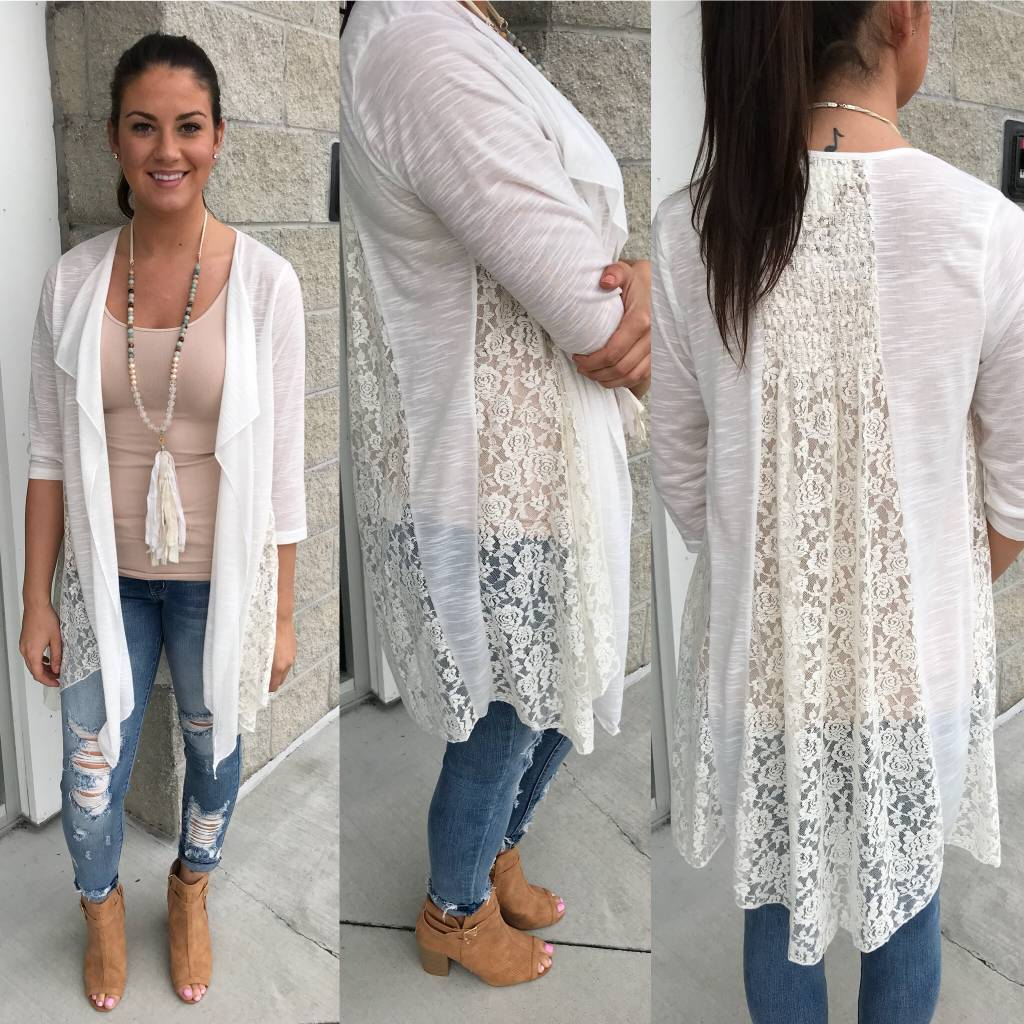 Lace Detail Cardigan - White