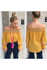 Embroidery Detail Off Shoulder Top - Mustard
