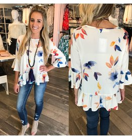 Floral Blouse Top - Ivory