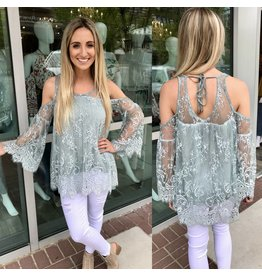 Cold Shoulder Lace Top - Emerald