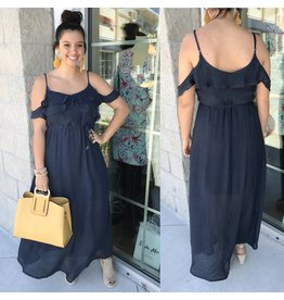 Open Shoulders Maxi Dress - Navy