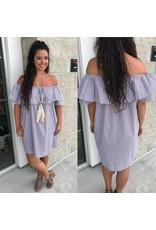Off Shoulder Striped Dress -Mocha