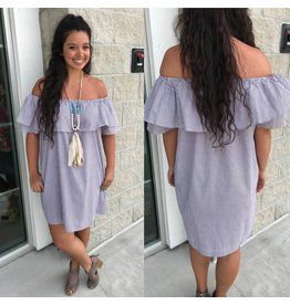 Off Shoulder Striped Dress - Mocha