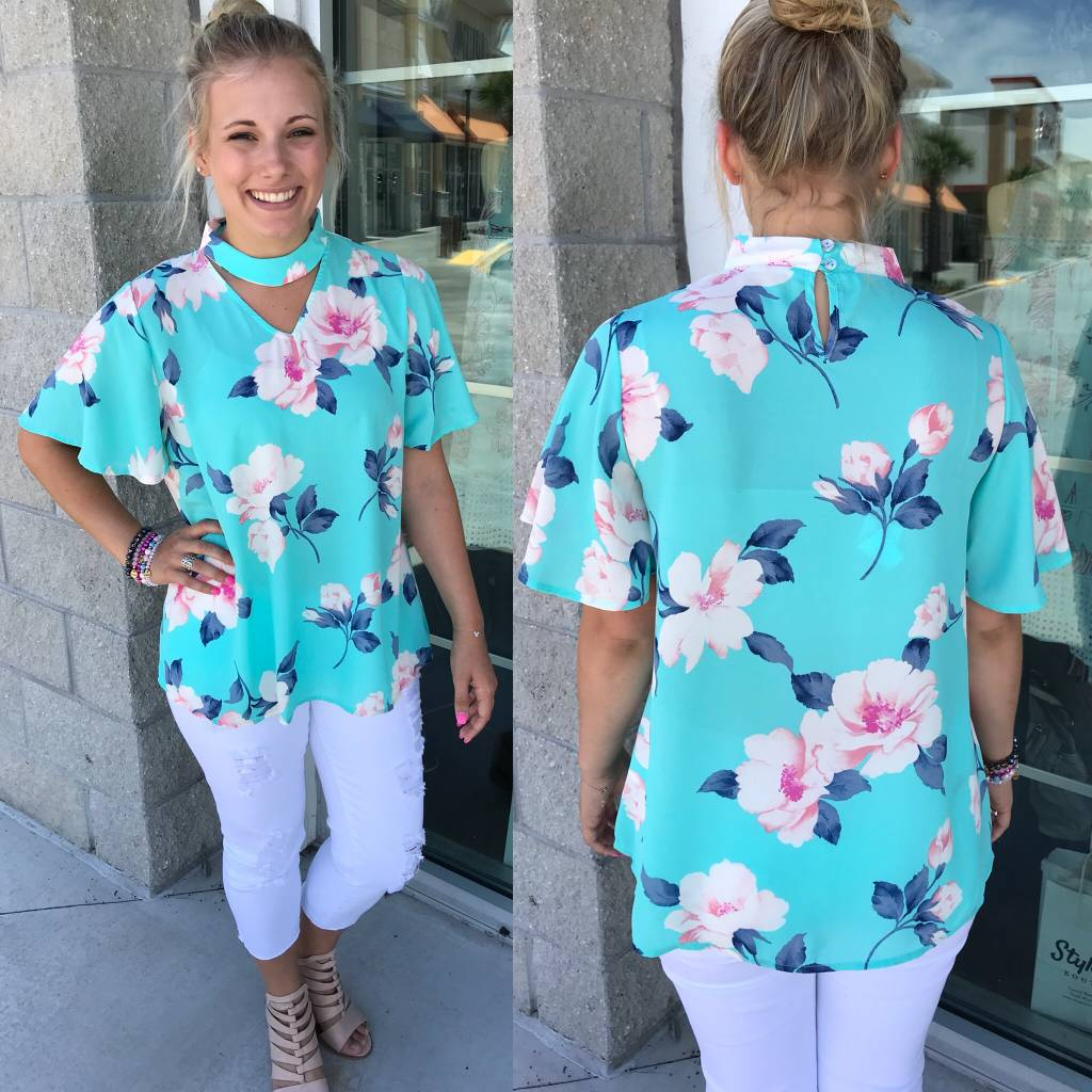 Mock Neck Floral Top - Mint