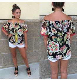 Off Shoulders Floral Top - Black