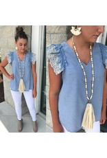 Embroidery Detail Chambray Top