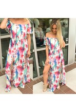 Feather Print Maxi Romper - Ivory