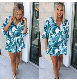 Tropical Print Oversized Top - Off White