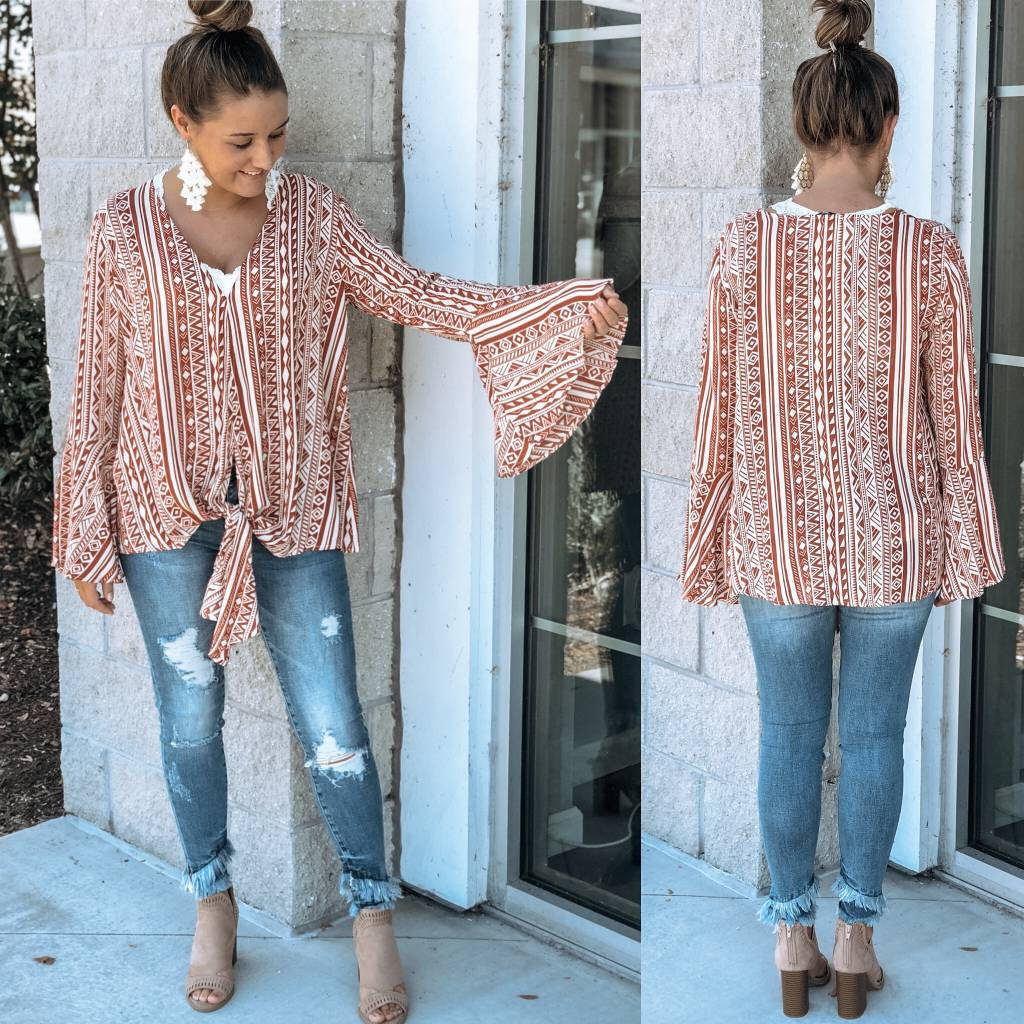 Aztec Print Top - Ginger