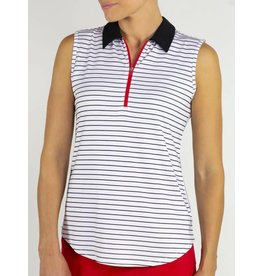 Jofit Jofit Zip Sleeveless Polo Prosecco Stripe