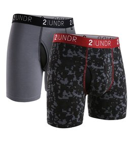 2UNDR 2UNDR Swing Shift Boxer Brief 2-Pack Grey/Blk Digi