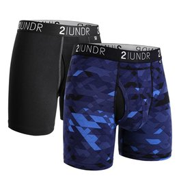2UNDR 2UNDR Swing Shift Boxer Brief 2-Pack Blk/Grey Geode