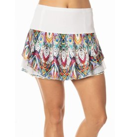 Lucky In Love Lucky in Love Illusion Velour Flip Skirt White