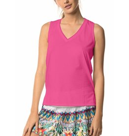 Lucky In Love Lucky In Love Relaxed Racer Tank Shocking Pink