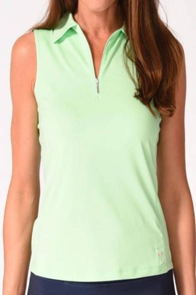 Golftini Golftini Sleeveless Zip Tech Polo Green