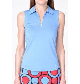 Golftini Golftini Sleeveless Zip Tech Polo Blue