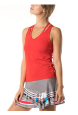 Lucky In Love V-Neck Cutout Tank Crimson