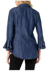 Liverpool Jeans Button Front Flounce Sleeve Shirt Blue