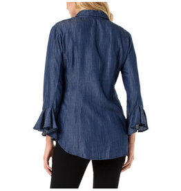 Liverpool Jeans Button Front Flounce Sleeve Shirt Blue
