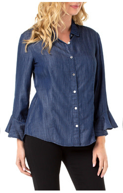 Liverpool Jeans Liverpool Button Front Flounce Sleeve Shirt Blue