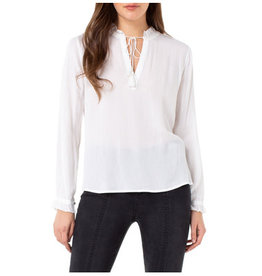 Liverpool Jeans Liverpool Ruffle Neck Popoever White