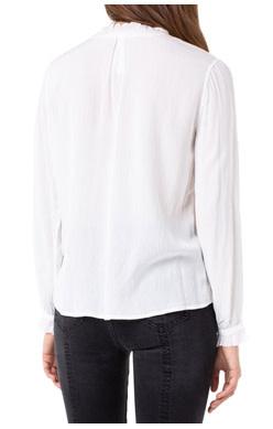 Liverpool Jeans Liverpool Ruffle Neck Popover White