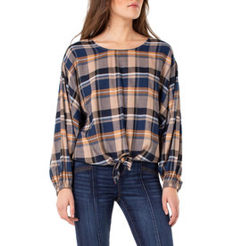 Liverpool Jeans Boat Neck Dolman Sleeve BL/OR/WH Plaid