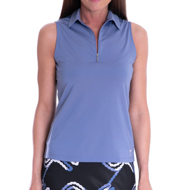 Golftini Golftini Sleeveless Zip Tech Polo Dusty Blue