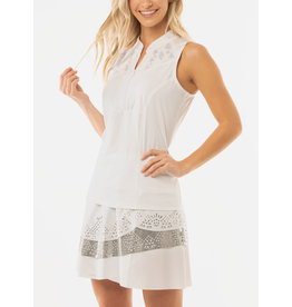 Lucky In Love Lucky In Love Cutwork Applique Zip Tank White/Silver