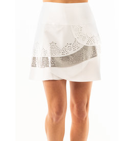Lucky In Love Lucky In Love Metallic Laser Scallop Skort White/Silver