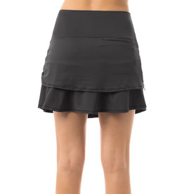Lucky In Love Groovy Stripe Ruched Tier Skort Charcoal