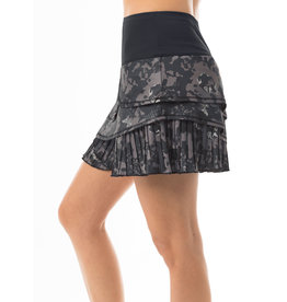 Lucky In Love Camo Pleated Skort Charcoal