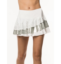 Lucky In Love Lucky In Love Laser Rally Skort Long White/Silver