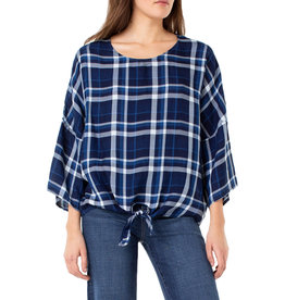 Liverpool Jeans Liverpool Scoop Neck Dolman Sleeve Blue/White Plaid