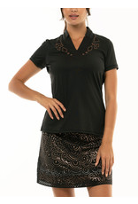 Lucky In Love Cutwork Applique SS Top Blk/Gld