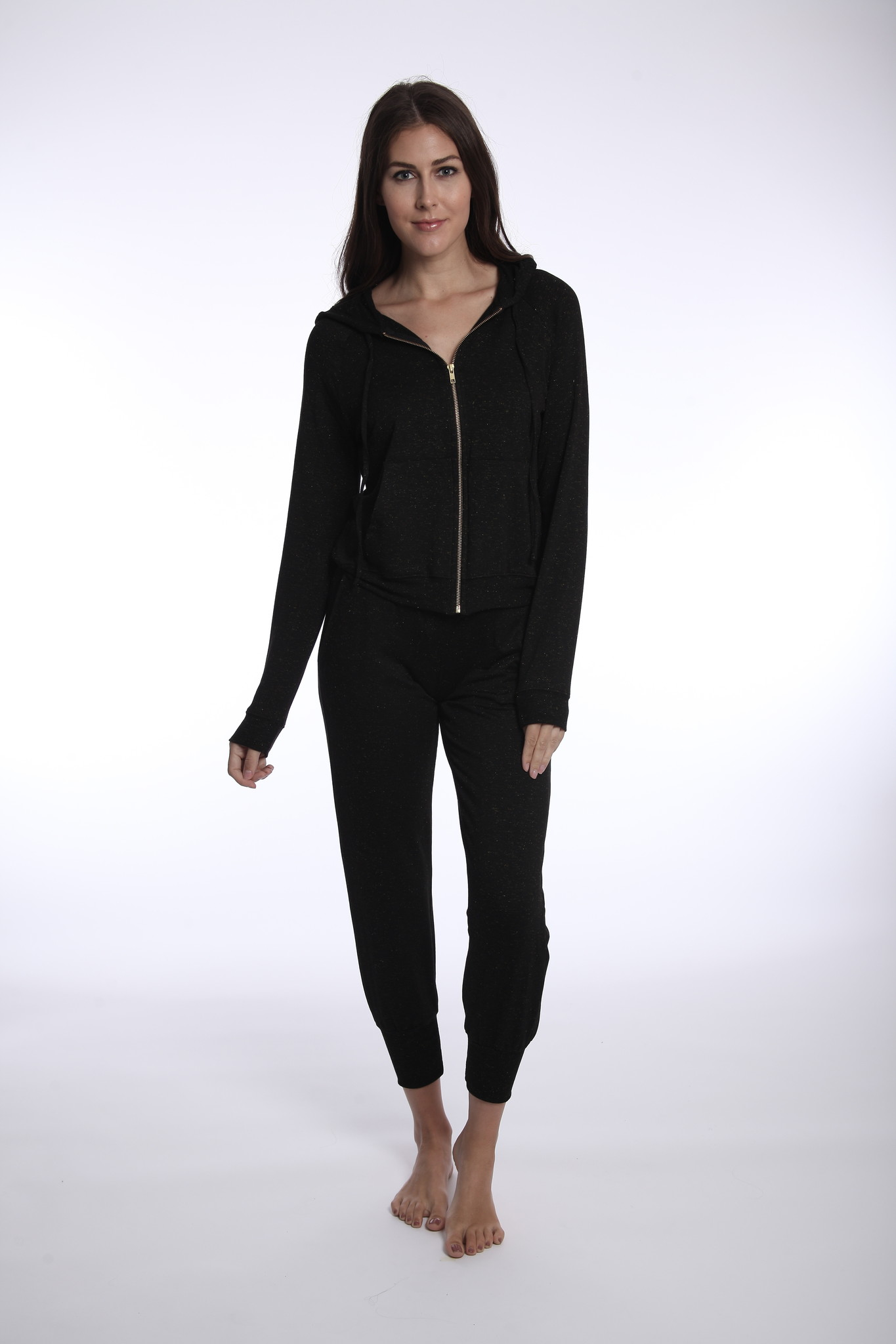River & Sky Lurex Cuddle Up Hoodie Blk/Gold