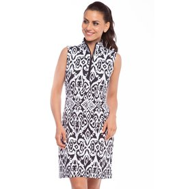 IBKul Doreen SL Zip Mock Dress Blk/Wht