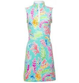 IBKul Nessa SL Mock Dress Seafoam
